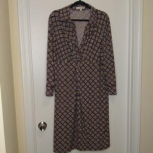 Travelsmith geometric print collared vneck dress